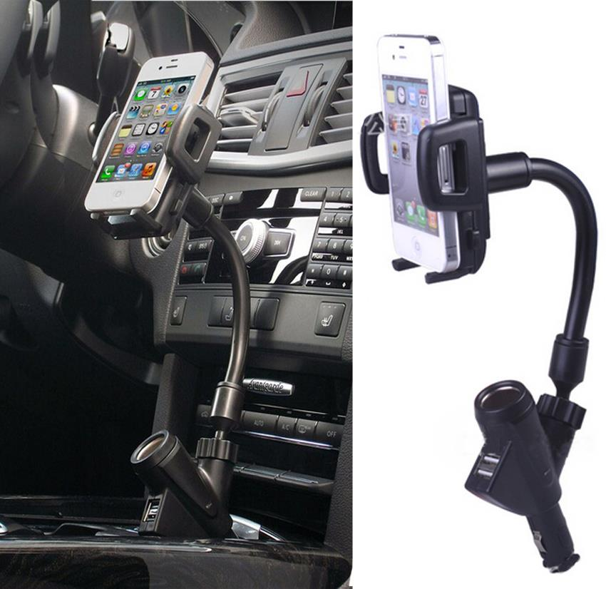 Dual USB Cigarette Lighter Car Charger Mobile Phone Stand Mount Holder For iPhone Smartphone GPS