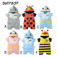 Baby Clothes Summer Short Sleeves Hooded Animals Shark Bee Rompers Outfit Kids Infant Toddler Jumpsuit Clothing