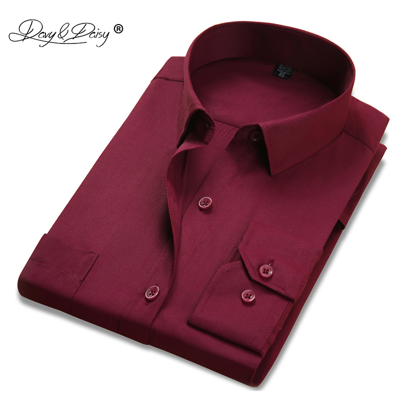 DAVYDAISY 2019 New Arrival Men Shirts Long Sleeve Shirt Man Slim Fit Business Male Weeding Party Formal Camisa Masculina DS267