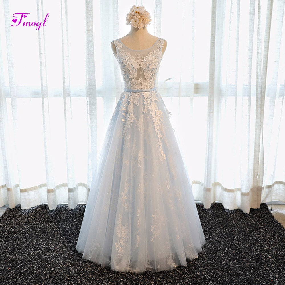 Fmogl Romantic Scoop Neck Lace Up Princess Prom Dresses 2019 Graceful  Appliques Sashes A Line Celebrity Dresses Robe De Soiree-in Prom Dresses  from Weddings ... f090384fbaab