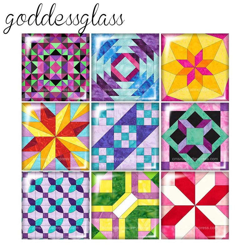 New Origami Patterns Geometric Shapes 12mm/20mm/25mm/30mm Square Photo Glass Cabochon Demo Flat Back Making Findings FB0003