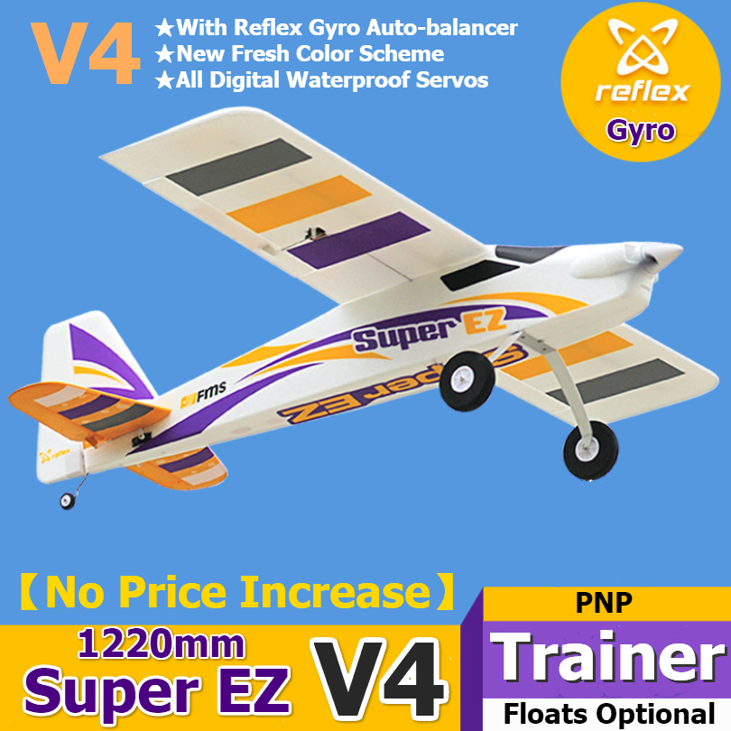FMS RC Airplane Plane Super EZ V4 Trainer Beginner With Gyro Floats Optional 3S 4CH PNP Model Hobby Aircraft Avion EPO Easy image