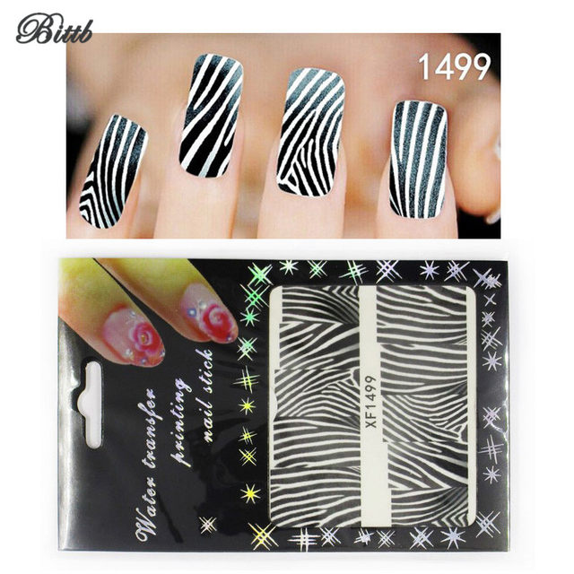 Online Shop Bittb Nail Art Stickers Black Zebra Strip Diy Fingernail