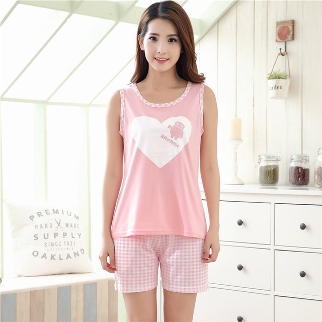 bab77cba60ca Summer Women s Pink Pajama Sets Cute Cartoon Cotton Sleepwear Sweet Girl  Mujer Pijama Feminino Pajamas Pyjamas Fashio Loungewear
