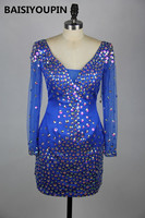 Vestido De Formatura Curto 2016 Sparkly Crystals Royal Blue Short Dress Homecoming Cocktail Dresses with Long Sleeves