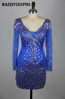 Vestido De formatura Курто 2016 Блестящие Кристаллы Королевский синий короткое платье; выпускников Коктейльные Платья С одежда с длинным рукавом
