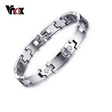 Vnox terapia magnética pulsera de carburo de tungsteno pulsera para las mujeres de las mujeres 7.6″