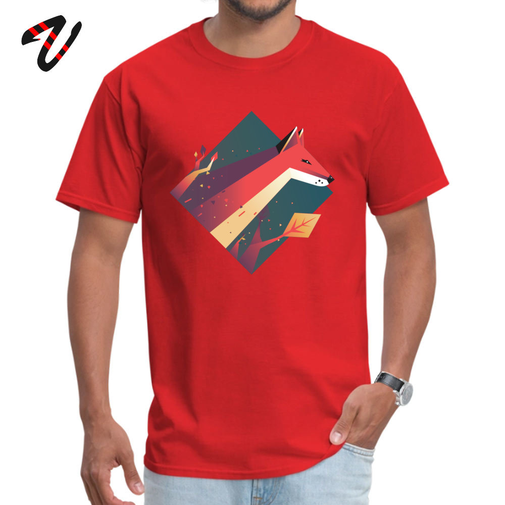 Funny Fox Casual Short Sleeve Summer Tops Shirt Special Crew Neck Cotton Tee Shirt Boy Tshirts Top Quality Fox13723 red