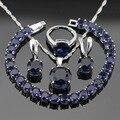 Mulheres Conjuntos de Jóias de Cor Prata Escuro Redondo Azul Criado Sapphire Colar Pingente Pulseiras Brincos Anéis Caixa de Presente Livre