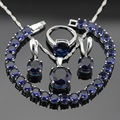 Women Silver Color Jewelry Sets Round Dark Blue Created Sapphire Necklace Pendant Bracelets Earrings Rings Free Gift Box