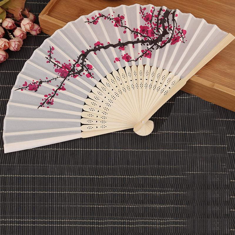 Classic Chinese Style Fan Dance Wedding Party Gift Lace Silk Fabric Bamboo Frame Folding Plum Hand Held Flower Wind Fans