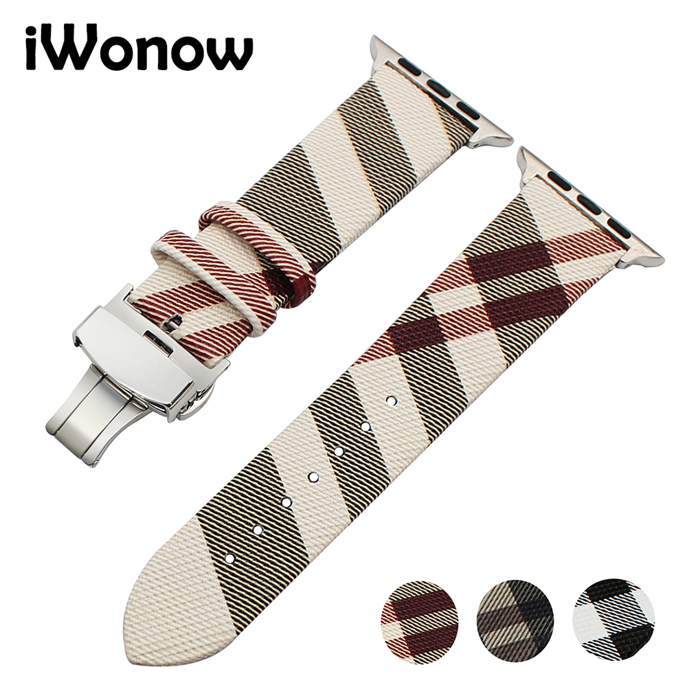 Genuine Leather Watchband for iWatch Apple Watch 38mm 42mm Series 1 2 3 Grid Pattern Replacement Band Steel Buckle Wrist Strap