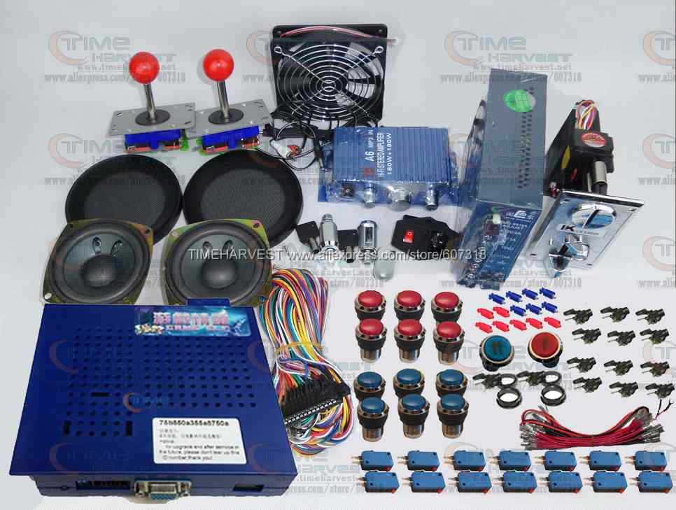 Arcade parts Bundles kit With Game elf 750 in 1 games Joystick LED Chrome illuminated Player Button Build Up Arcade Game Machine arcade parts bundles kit with 60 in 1 board power supply joystick push button microswitch harness glass clips coin door camlock