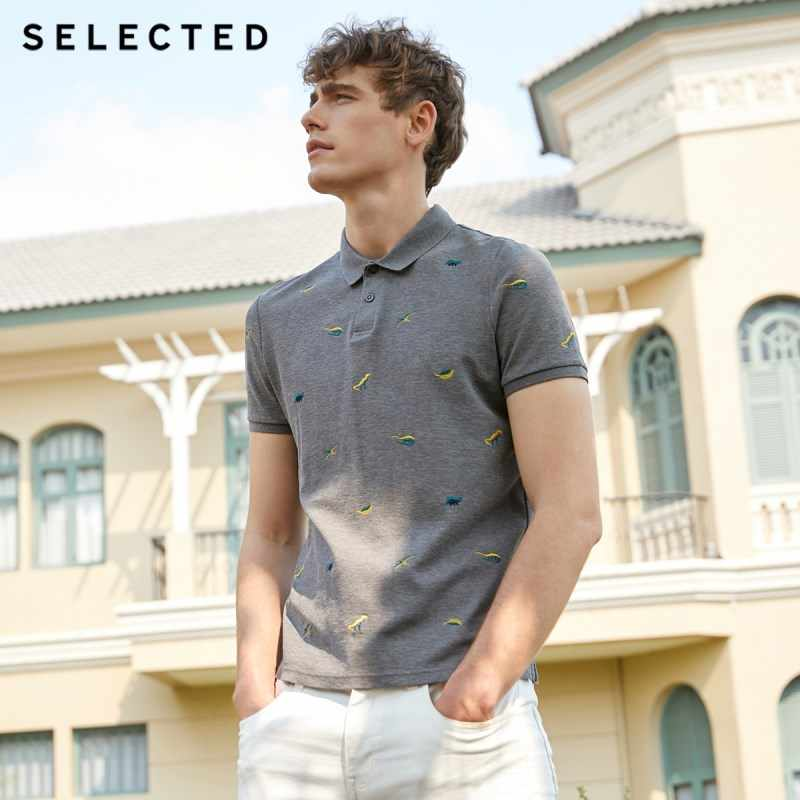SELECTED Men's Summer 100% Cotton Embroidered Turn-down Collar Polo S|419206504