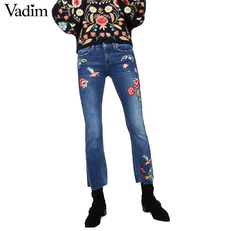 Women Studded Floral Embroidery Flare Jeans Rhinestone