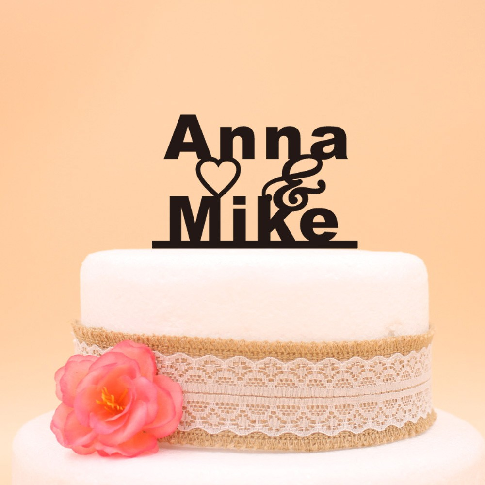 Free Shipping Silver/Gold/Black Color Customized Acrylic Cake Topper ...