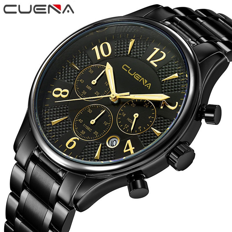 CUENA Fashion Men Quartz Watch Top Brand Luxury Watches Full Steel Sport Wristwatches Business Relogio Masculino Date 6919G 2016 curren men luxury sport quartz wristwatches full steel watch date display fashion business watches relogio masculino 8069