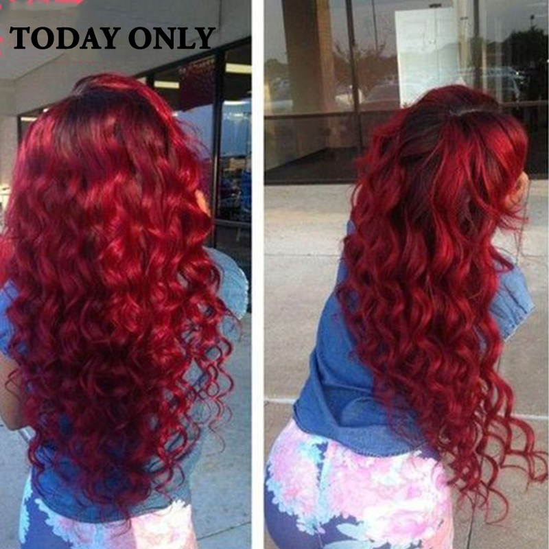 10A Grade Peruvian Body Wave Virgin Hair Bundle Deals with Lace Closure 1b/99j Burgundy Ombre Peruvian Virgin Hair with Closure