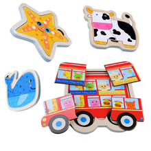 Cartoon Baby Toy Wooden Puzzle 3D Jigsaw Board Animal Vehicle DIY Monterssori Educational for Children