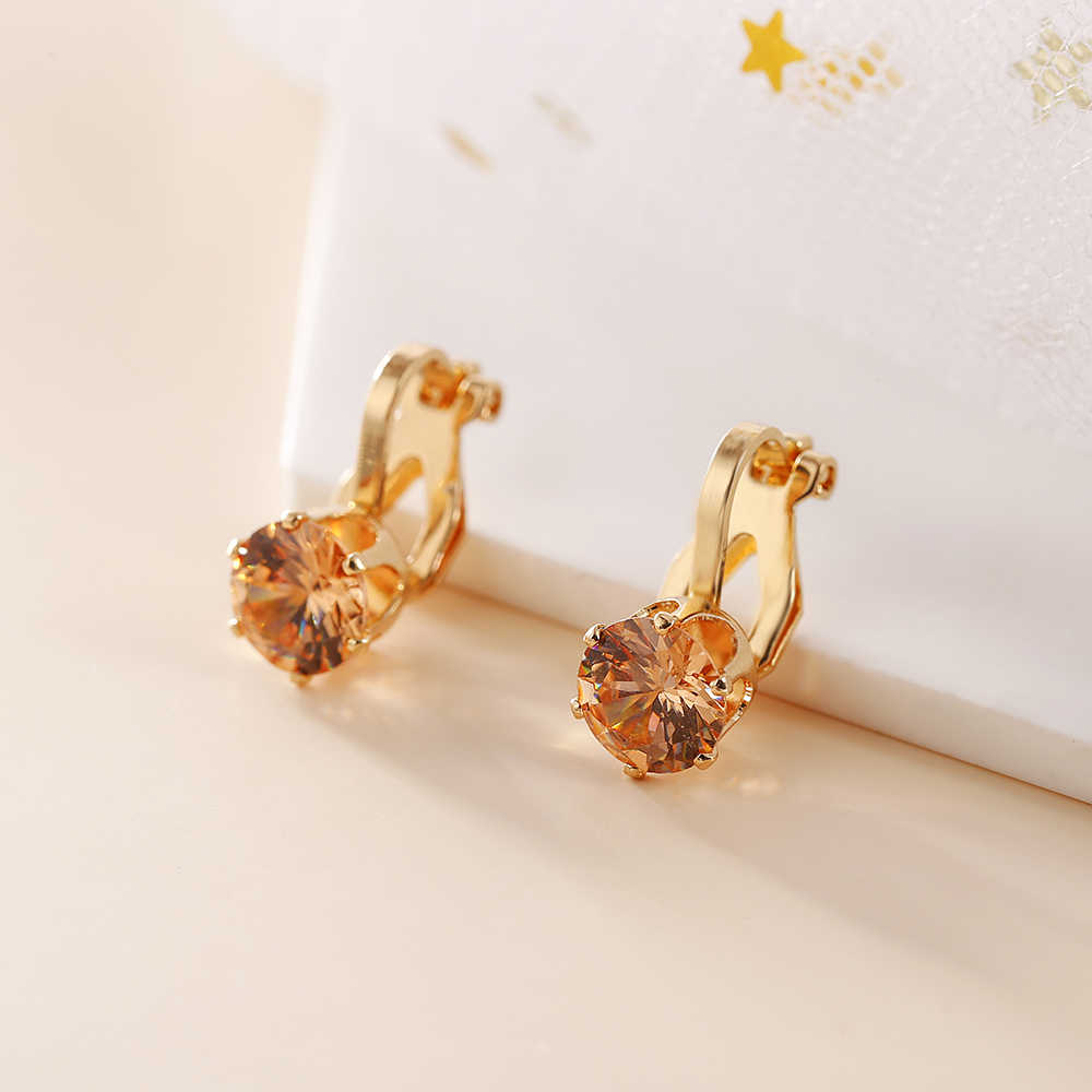 Jiofree Round Cubic Zirconia Anting-Anting Klip untuk Wanita Fashion 3 Warna Kristal Perhiasan Anting-Anting Perempuan Hadiah Pesta Pernikahan
