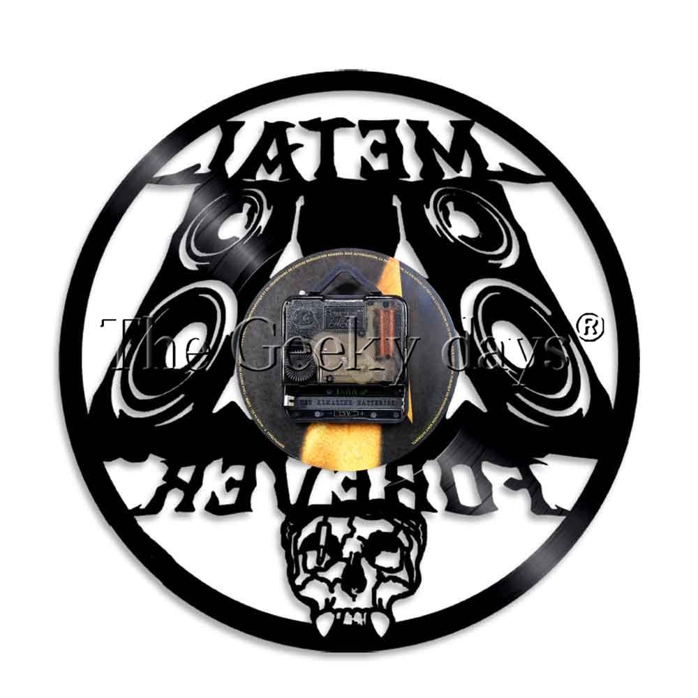 US $19 0  1Piece Vinyl Record Wall Clock Metal Forever Rock Band Music  Legend Heavy Metal Rocker Skull Clock Vinyl LP Vintage-in Wall Clocks from  Home
