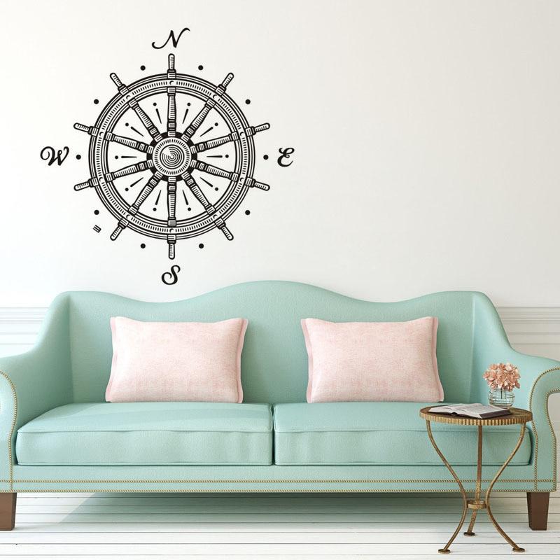 Compass Rudder Pattern Wall Sticker Cartoon Compass Rudder Funny Wall Decal for Home Decoration 8353
