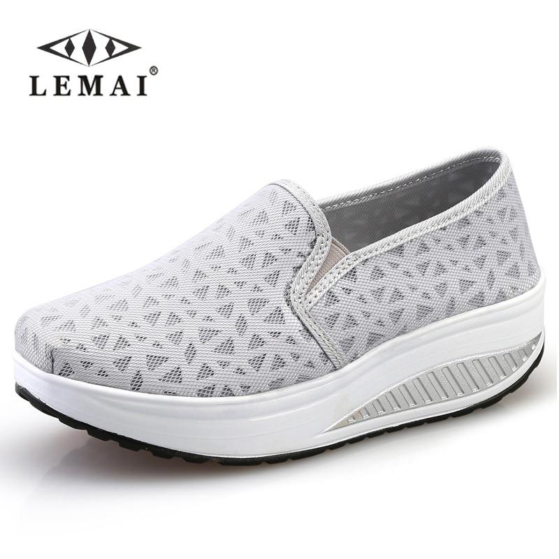 LEMAI perder peso de la manera de cuña de las mujeres zapatos de primavera veran
