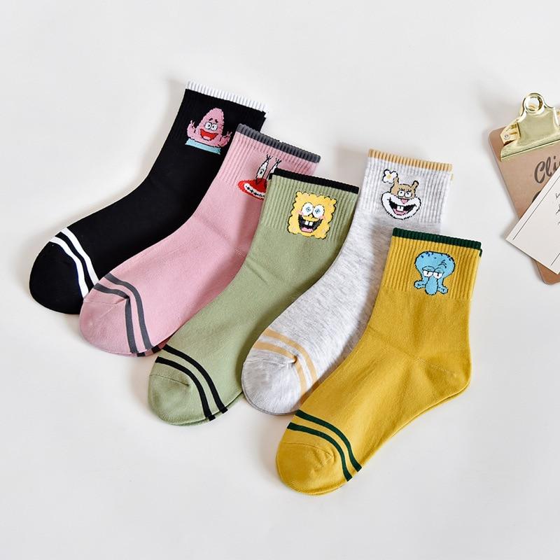 5 Pairs Colored Cartoon Short Harajuku Socks Cute Kawaii Patterned Ankle Socks Women Funny Cotton Socks Creative Hipster Sox