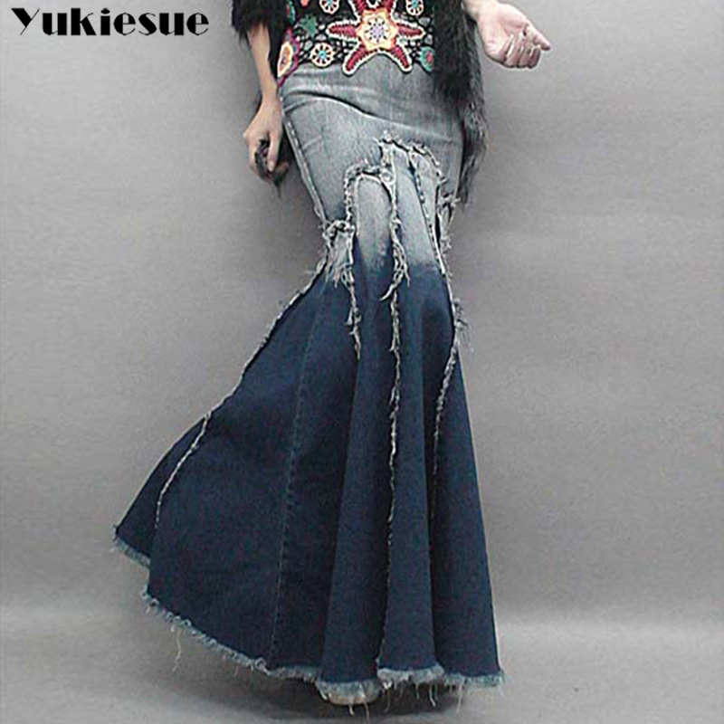 Lady Long Denim Skirt Women High Waist Gradient Tassel Jeans Trumpet Female Cool Fish Tail Mermaid Bohemian Maxi Skirts Womens