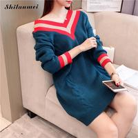 Korean Women Sweaters And Pullovers Sexy V Neck Striped Knitted Sweater Long Sleeve Autumn Winter Women