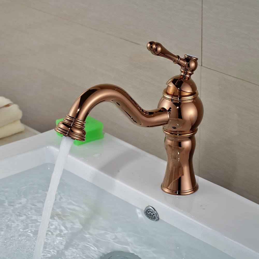 Wholesale And Retail Rose Golden Bathroom Basin Faucet Single Handle Hole Vanity Sink Mixer Tap Face Faucet Single Handle single handle golden swan faucet bathroom basin faucet vanity sink mixer tap