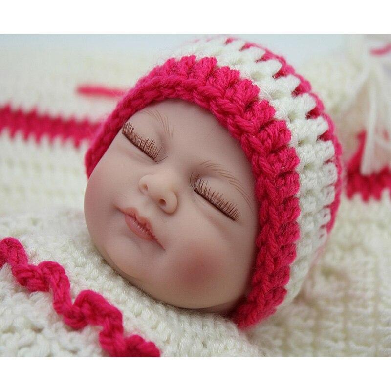HN02 Soft Full Silicone Baby Reborn Rebuild Girl Sleepy Lifelike Vinyl Mini Child Love Dolls Little Mommy Baby Toy Christmas Gif little love