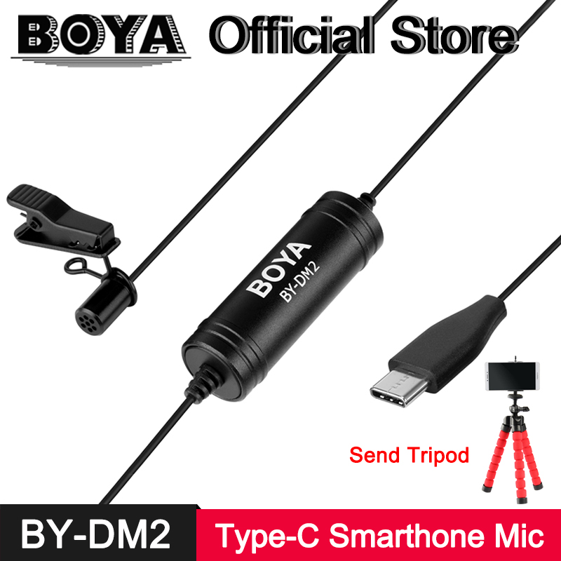 BOYA BY-DM2 Clip-on Lavalier Microphone USB Type-C Interface Mic for Oneplus Huawei Mate 10 Samsung Xiaomi 6 Android Smartphone