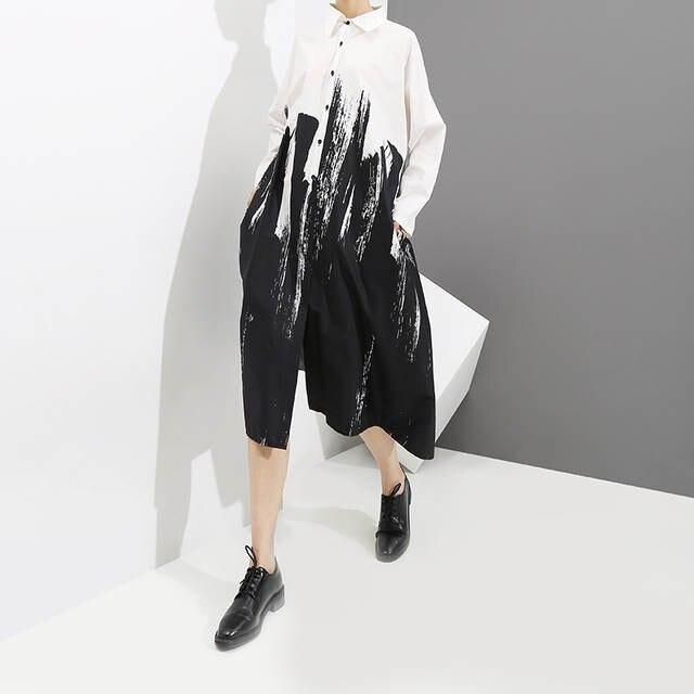 fc9b8f0820f placeholder 2019 novas Mulheres Estilo de Pintura Preto Solto Camisa  Impressão de Manga Comprida Vestido Feminino Plus