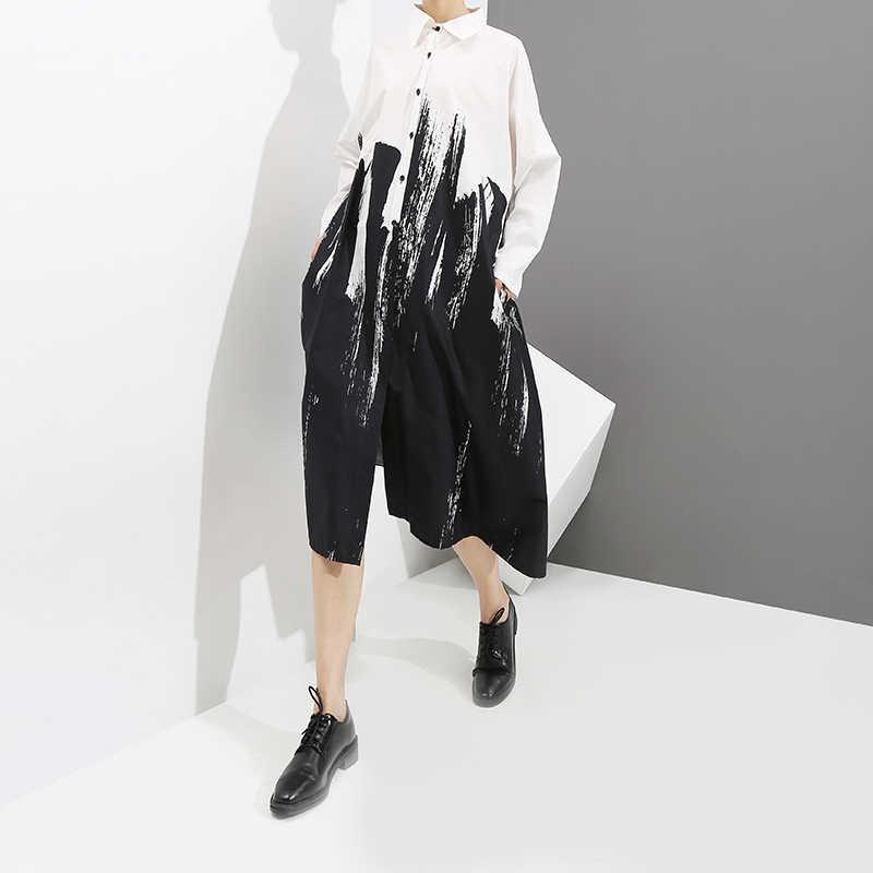 Женское летнее свободное белое платье-рубашка с рисунком 2019, женские повседневные платья-миди большого размера с длинным рукавом и принтом для вечеринки и клуба, 3400