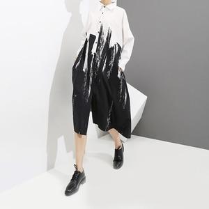 Image 2 - 2020 كم طويل امرأة الخريف أبيض وأسود طباعة قميص فستان التعادل مصبوغ نمط اللوحة حجم كبير ميدي السيدات فستان كاجوال 3400