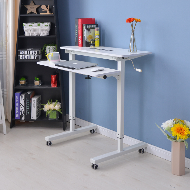 Height Adjustable Sit Stand Desk with Heavy Duty Steel Frame Office ...