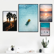 Pineapple Beach Coconut Tree Wall Art Canvas Painting Seascape Nordic Posters And Prints Wall Pictures For Living Room Decor цена и фото