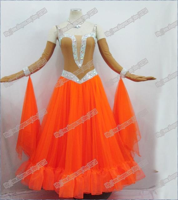 f223ad66 US $215.2 20% OFF|Nowoczesne Waltz Tango Taniec Towarzyski Sukienka, gładka  Balowej Sukni, standardowy Ballroom Dress, rozmiary/L/M/LL B 0013 w ...