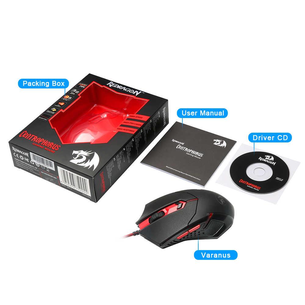 Redragon cenrophorus M601 USB الألعاب ماوس السلكية 3200 ديسيبل متوحد الخواص 5 أزرار مريح للكمبيوتر برمجة الفئران ألعاب LOL PC