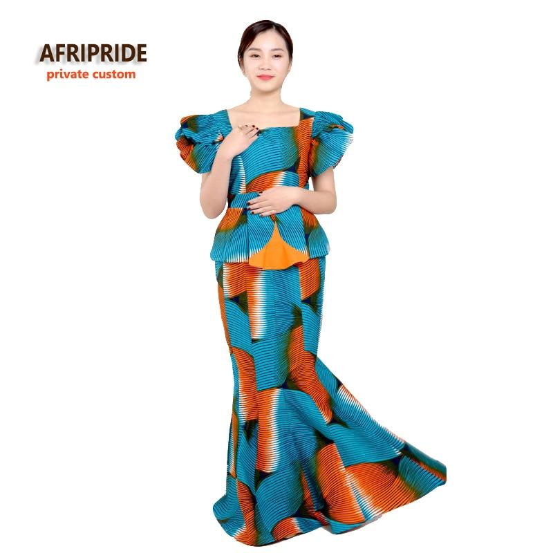 Αρχική αφρικανική εκτύπωση κλασική φούστα σετ γυναικών AFRIPRIDE μανίκι μανίκι κορυφή + πάτωμα φούστα μήκος γυναικών που προορίζονται για πάρτι A622604