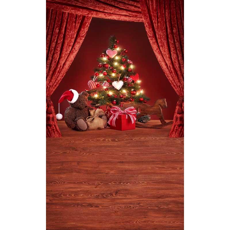 Weihnachtsbaum Geschenke Rot Vorhang Kinder Fotografie Hintergrund Fr Fotostudio Kamera Fotografica Galerie Vinyl KulissenChina
