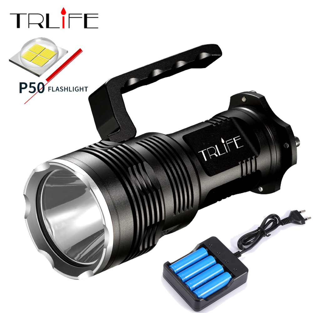 7200Lums LED Lantern Searchlight XHP50 18650 LED Flashlight Torch Light Rechargeable Battery Aluminum Lamp Powerful FlashLights