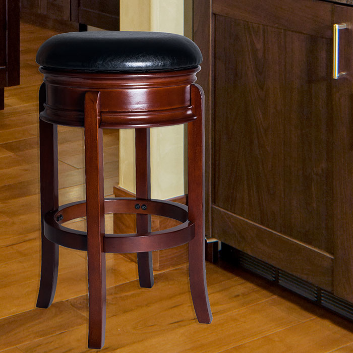 Lavish Home Ornate Base Wood Swivel Bar Stool - Dark Wood Grain Base