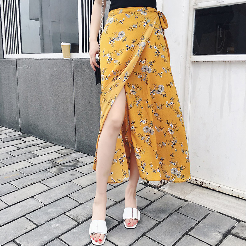 25 Colors 2019 Bohemian High Waist Floral Print Summer Skirts Womens Boho Asymmetrical Chiffon Skirt