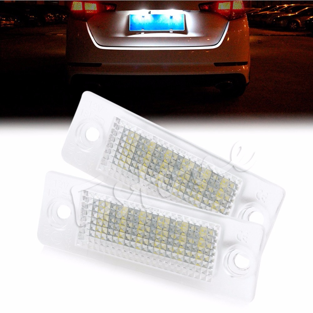 2pcs Error Free 18-LED License Plate Light For VW Transporter Passat Golf Touran White 6000k can-bus decoding unit Tail Light  high quality plastic and led bulbs 2pcs white error free 18 led license plate light lamp kit for vw golf eos passat polo phaeton