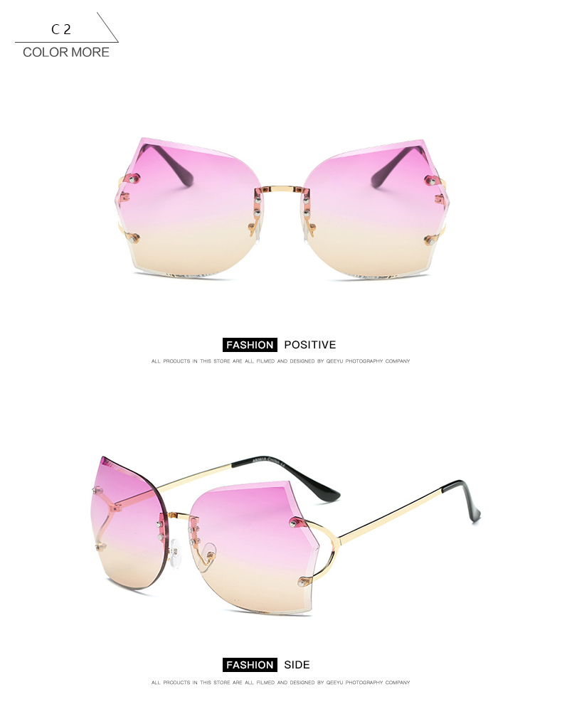 beb6bf6427f HapiGOO New Rimless Round Big Sunglasses Women Brand Designer Fashion Alloy Frame  Vintage Oversized Clear Gradient Sun GlassesUSD 5.89 piece