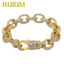 Xukim Jewelry Twisted Oval Cuban Link Chain Bracelet Big Clasp Gold Silver Color Zircon Iced Out Hip Hop Jewelry Gift Party цены