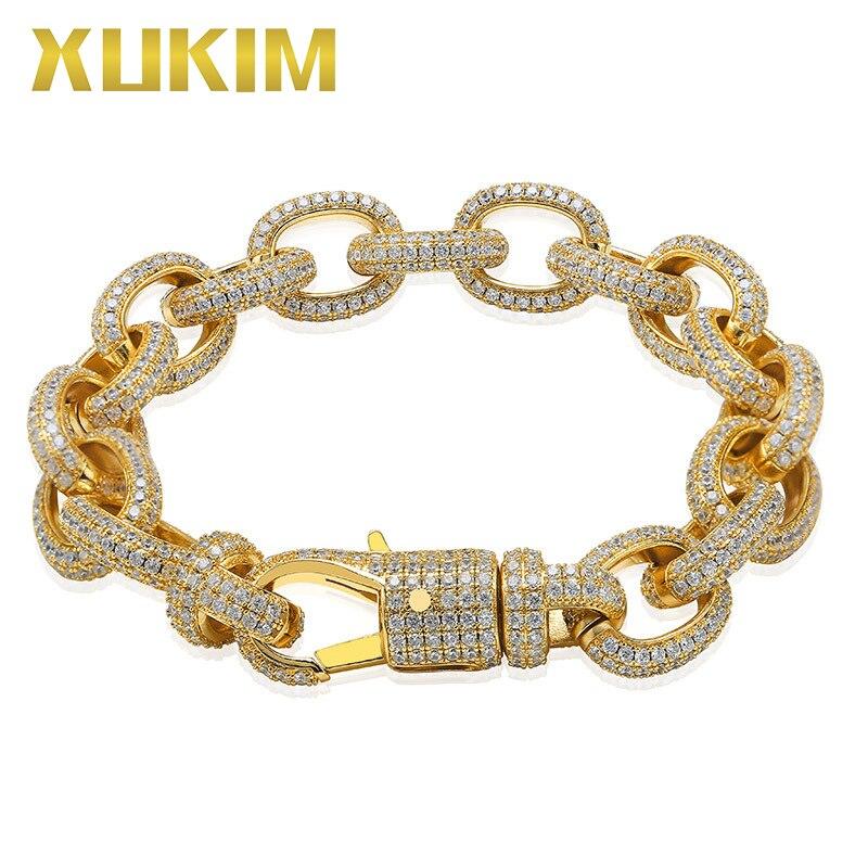 Xukim bijoux torsadé ovale cubain lien chaîne Bracelet grand fermoir or argent couleur Zircon glacé Hip Hop bijoux cadeau fête
