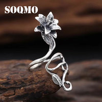 SOQMO Authentic 925 Sterling Silver Vintage Hollow Rose Flower Rings for Women Gift Open Adjustable Ring Jewelry SQM039